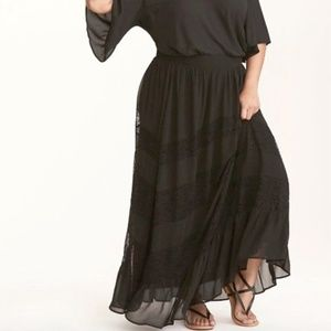 TORRID Lace Overlay Tiered Chiffon Maxi Skirt